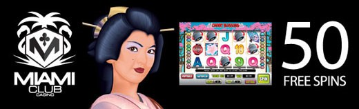 Miami Club July offer on video slot Cherry Blossoms click to play